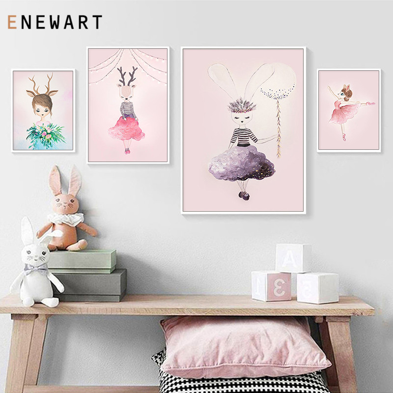 Детский постер с мультяшным животным оленем зайчиком, Дамский настенный художественный холст, принт для детской скандинавской детской спа...