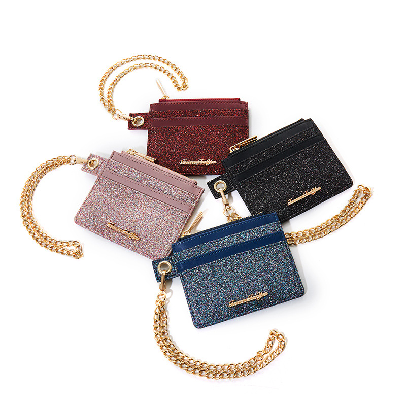 Small Card Holder Wallet One-piece Bag Women's Sequin Fashion Cool Cute Small Ultra-Thin Change Credit Bank Card Holder Women's