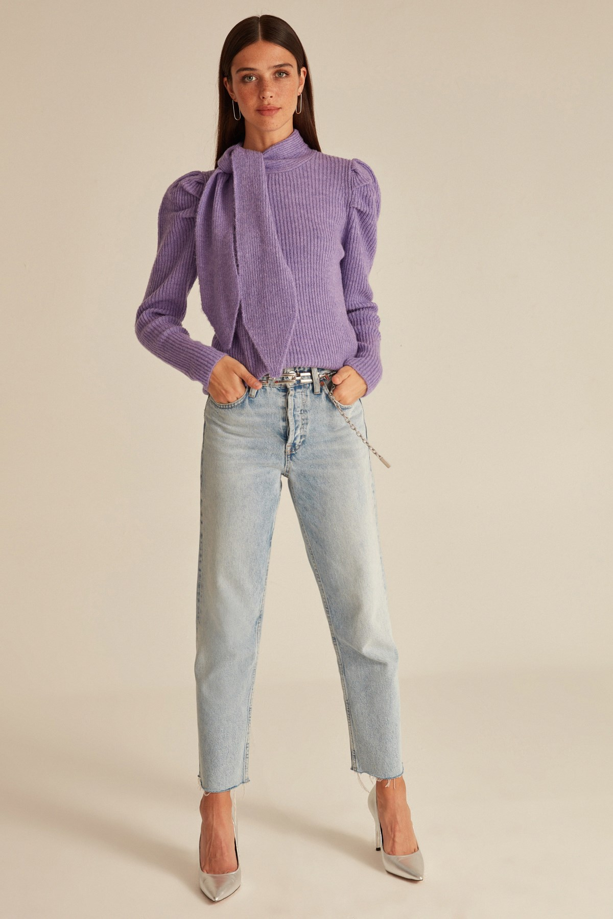 Lacing Neckline Shirred Bubble Shoulder Knitwear Sweater свитер женский кофта женская Cardigan Women Sexy Lady Wear