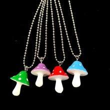 Senhoras encantos cogumelo pingentes colares feminino pequeno fresco pingentes diy artesanato colar de jóias de qualidade para o sexo feminino