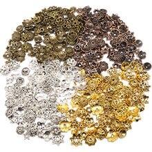 Mix cor flor grânulo boné pequeno tamanho misto tibetano prata chapeado contas tampões needlework diy acessórios tampas de extremidade 100/200pcs