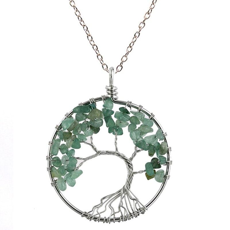 7 Чакра кварцевый и из натурального камня Древо жизни кулон ожерелье для женщин кристалл натуральный камень ожерелье s Подвески рейки ювелирные изделия - Окраска металла: GR