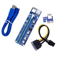 AU42 -60cm VER 008C Molex 6 Pin PCI Express PCIE PCI-E yükseltici kart 1X to 16X Extende USB3.0 kablo madencilik Bitcoin madenci