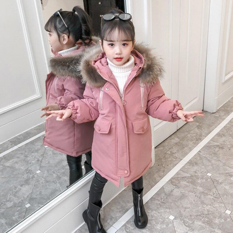 2019 новая детская зимняя куртка для девочек, детская теплая длинная куртка с хлопковой подкладкой, парка, худи для подростков, верхняя одежда, пальто для маленьких девочек