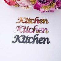 Табличка для кухонных дверей, таблички для семейных дверей, акриловая зеркальная настенная наклейка, дизайн с самоклеющимся клеем, домашни...
