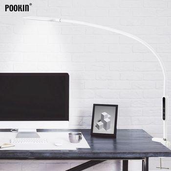 Lámpara de mesa de brazo largo con Clip, lámpara Led de oficina para escritorio, lámpara con Control remoto y protección ocular para dormitorio, luz Led de 5 niveles de brillo y Color