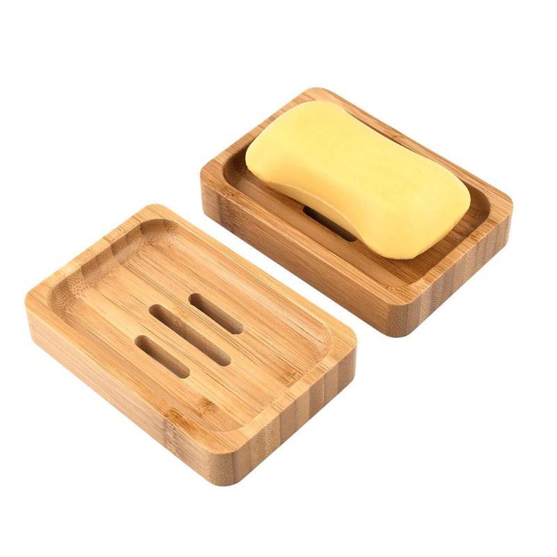2pcs Portable Handmade Wood Bamboo Soap Dish Tray Case Bathroom Clean Shower Soap Holder Bambu Storage Box