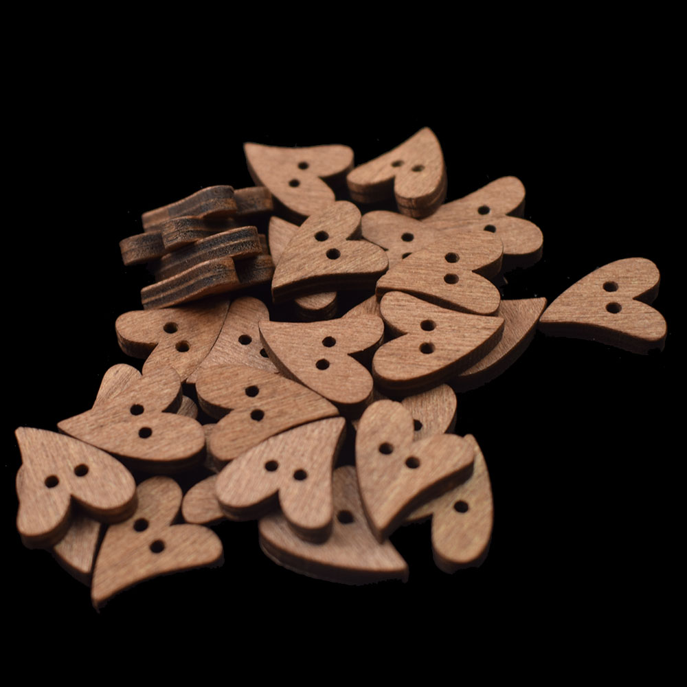 Cartoon Long Heart Wooden Button 2 Holes Craft Decor Children DIY Accessories