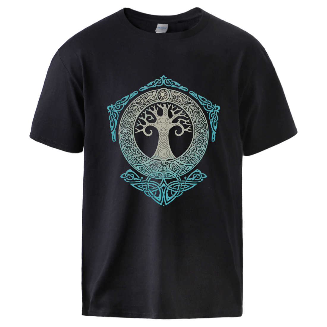 Vikings Tshirts For Man Yggdrasil Norse Mythology Summer Cotton T Shirts Tee Male Casual Short Sleeve Crewneck Sportswear Tee