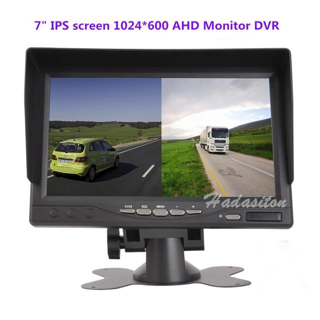 Yeni 7 inç IPS 2 bölünmüş ekran 1024*600 AHD araç monitörü sürüş kaydedici DVR güvenlik izleme