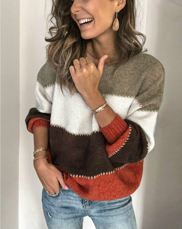 Fashion Women Knitted Sweater Jumper Long Sleeve Striped Ladies Pullover Loose Autumn Winter Tops