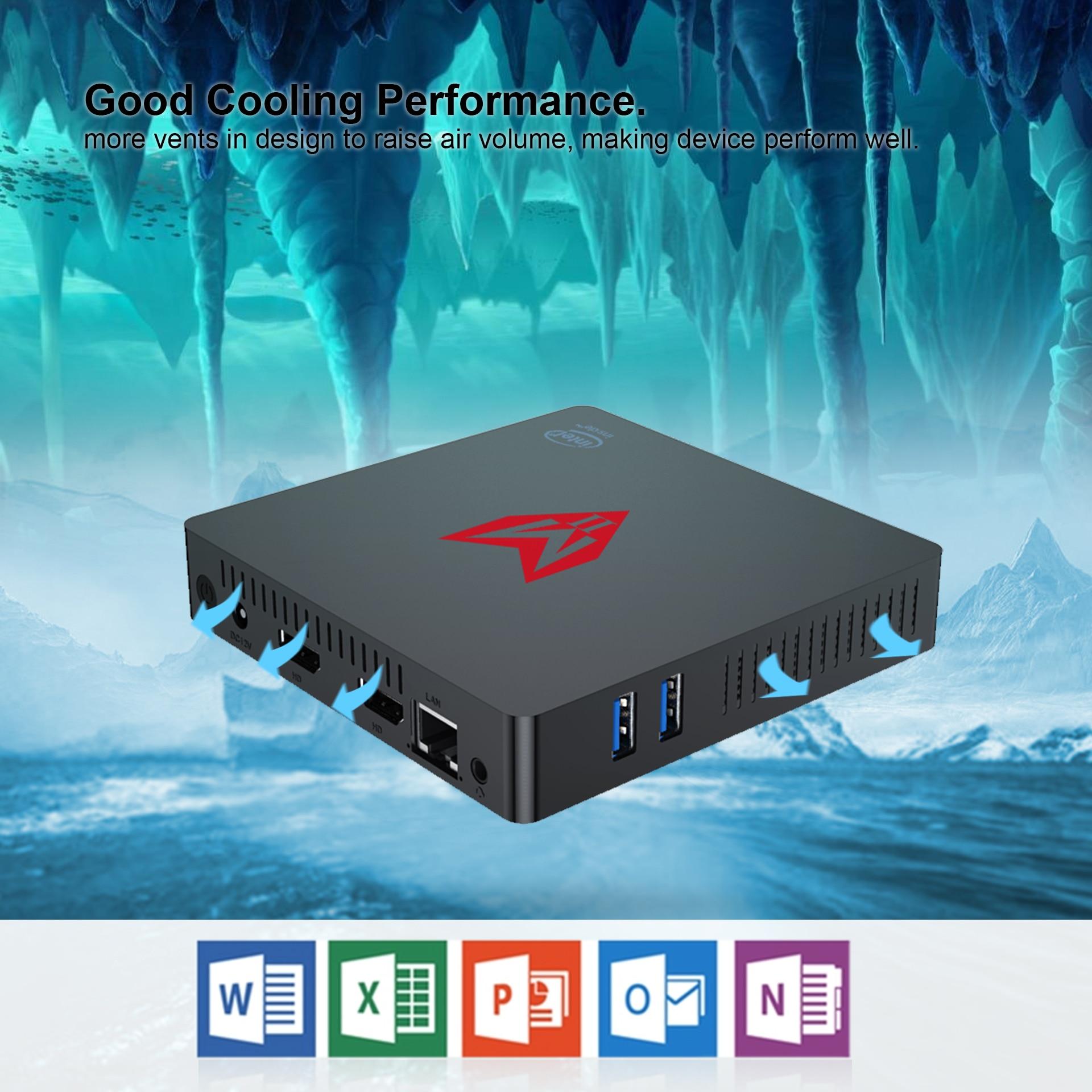 MII Win10 Mini PC In-tel Apollo Lake J4205 TV Box Mini Pc Dual Wifi 8G  128G/256GB/512GB HD1.4 BT Set Top Box HD Graphics 500
