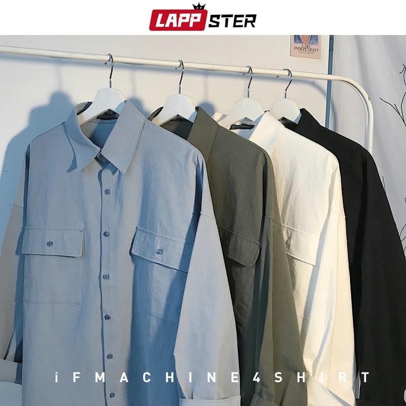 LAPPSTER Mens Korean Two Pockets Solid Shirts 2020 Mens Harajuku Loose Shirts Long Sleeve Women Casual White Button Up Shirt
