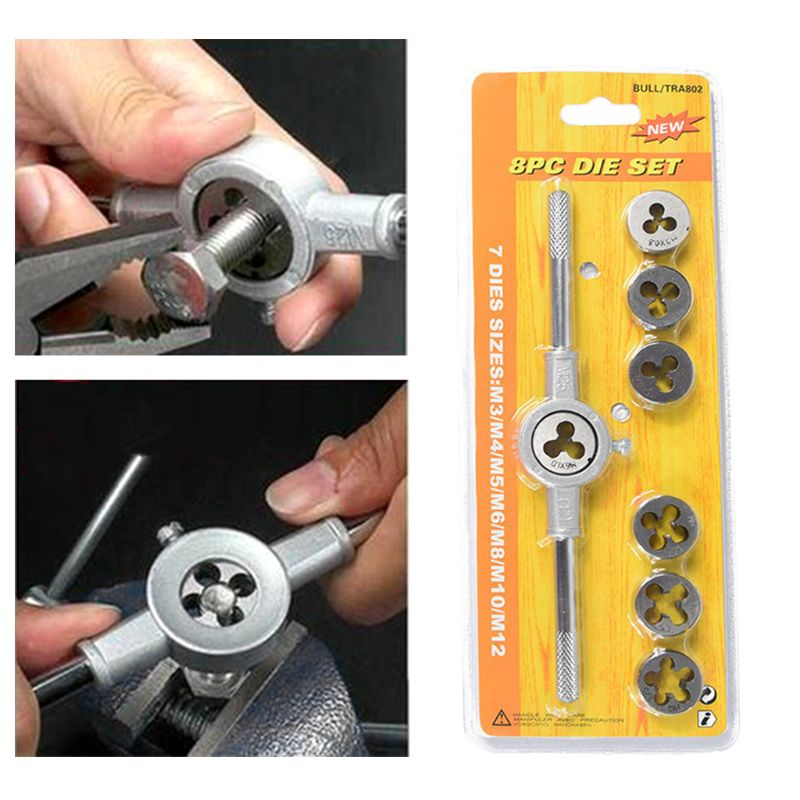 8pcs Metric Adjustable Tap Die Wrench Set M3-M12 Screw Thread Taper Hand Tool