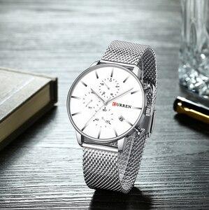 Image 2 - CURREN reloj militar de cuarzo para hombre, reloj masculino de pulsera de acero inoxidable, con fecha