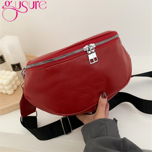 Gusure Fashion Women Bag Solid Color Crossbody Saddle Bags Street Style Girls' Double-zipper Chest Pack Phone Purse