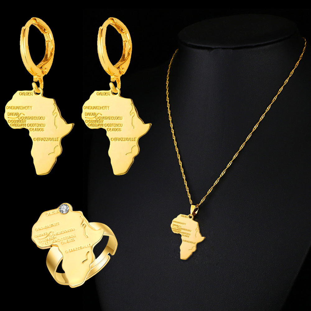 CHENHXUN Africa Map Pendant Necklace Earrings Ring Gold Color Chain Wholesale African Map Men Women Set Jewelry