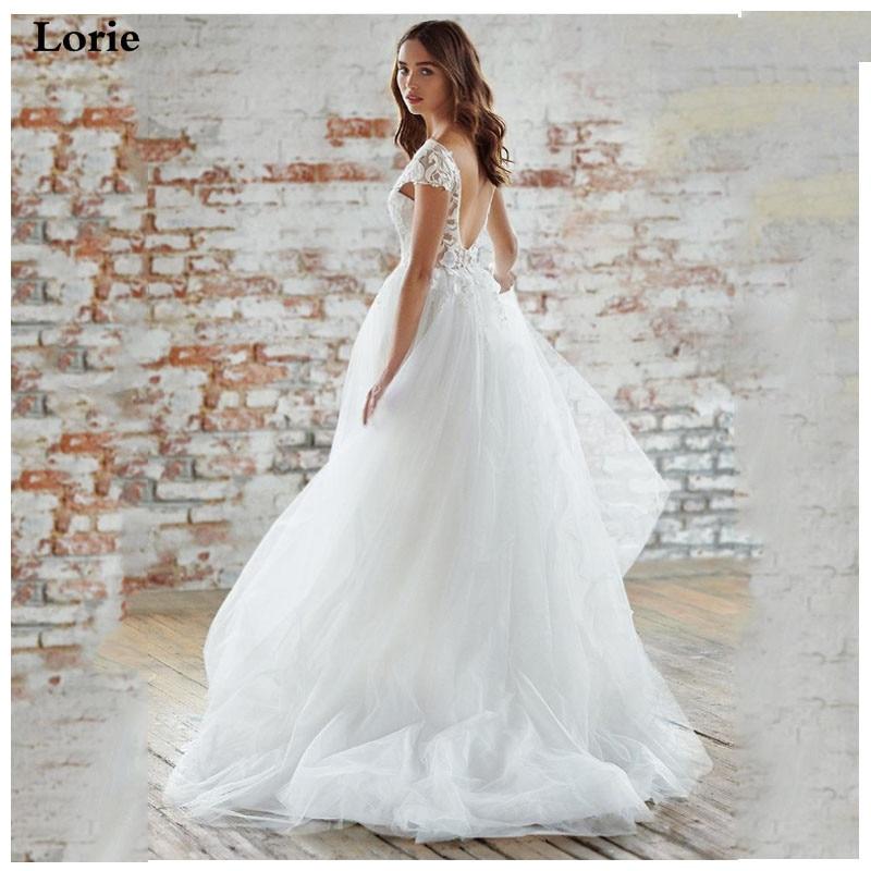 LORIE  Backless Boho Wedding Dress 3d Lace Vintage Appliqued Bridal Dress 2019 Cap Sleeves Wedding Gown Floor Length