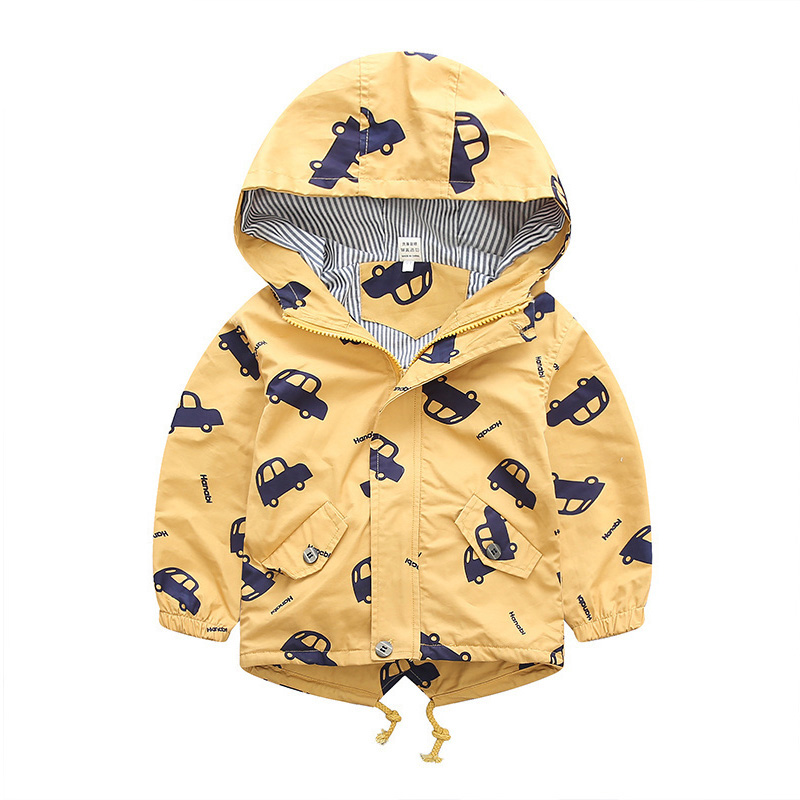 H33163686d9bc46cbbe700a2614af4976s - 70-120cm Autumn Winter Jacket Boys Girls Kids Outerwear Cute Car Windbreaker Coats Print Canvas Baby Children Clothing