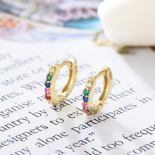 925 Sterling Silver Rainbow Hoop Earring Gold Filled Minimalist Tiny CZ Earrings for Women Colorful Elegance Fashion Jewelry