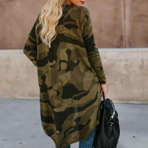 Printemps automne femmes dames décontracté à manches longues Cardigan léopard Camouflage imprimé Long manteau femmes vêtements