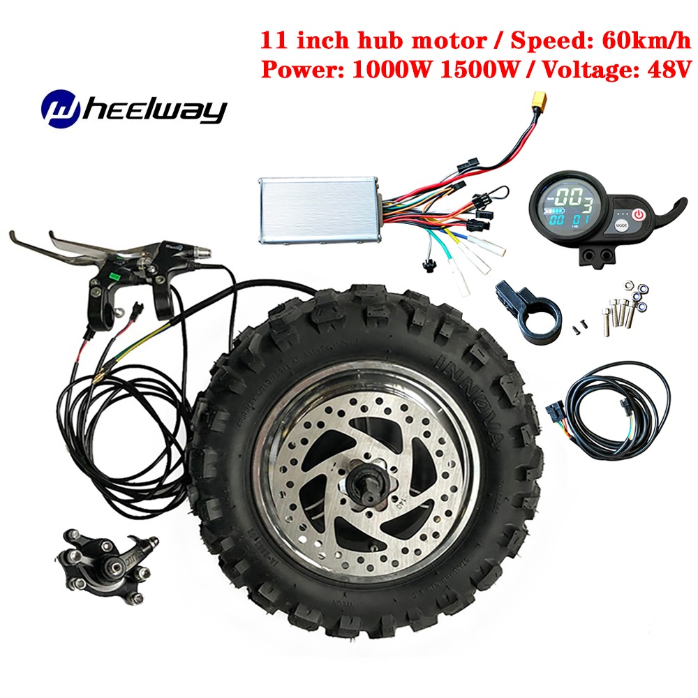 11 inch 48V 1000W 1500W wheel motor kit electric gearless motor 60km / h electric kit Fat Off road Rough Tire