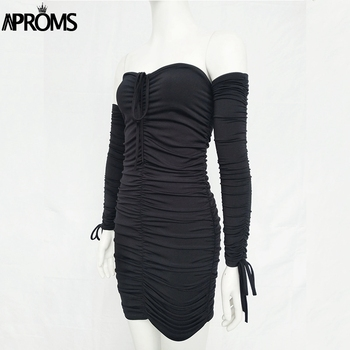 Aproms Black Ruched Pleated Short Dress 2020 Winter Club Women Sheath Bodycon Dresses Sexy Off Shoulder Mini Dress Vestidos 5