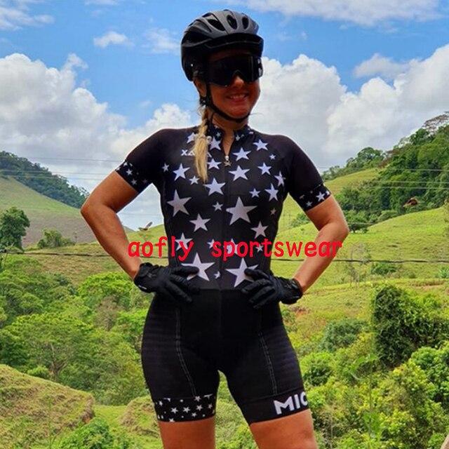 Profissional das mulheres triathlon manga curta camisa de ciclismo define skinsuit maillot ropa ciclismo roupas femininas jumpsuit2020 Maillot de ciclismo de triatlón para mujer Trajes de ciclismo para mujer Monos de 6