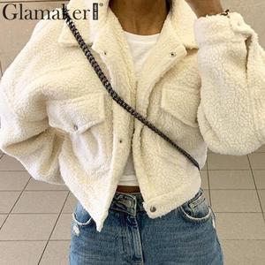 Image 3 - Женская короткая плюшевая куртка Glamaker, Белая теплая УКОРОЧЕННАЯ МЕХОВАЯ КУРТКА с искусственным мехом и карманами, осенняя уличная одежда, черное пальто