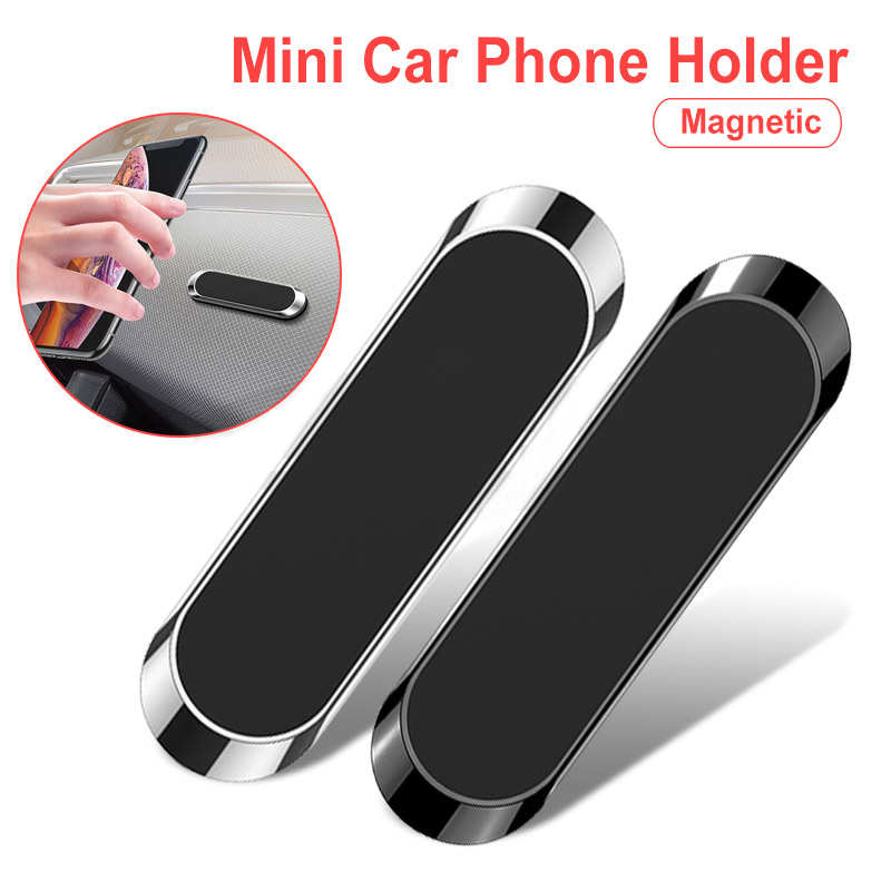 TKEY Magnetic Car Phone Holder Mini Strip Paste Stand For IPhone Samsung Xiaomi Wall Zinc Alloy Magnet GPS Car Mount Dashboard