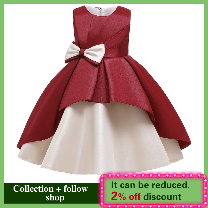 New Girl's Wedding Party Bow Splicing Party Evening Dress Princess Flower Children's Communion Party First Party Dress