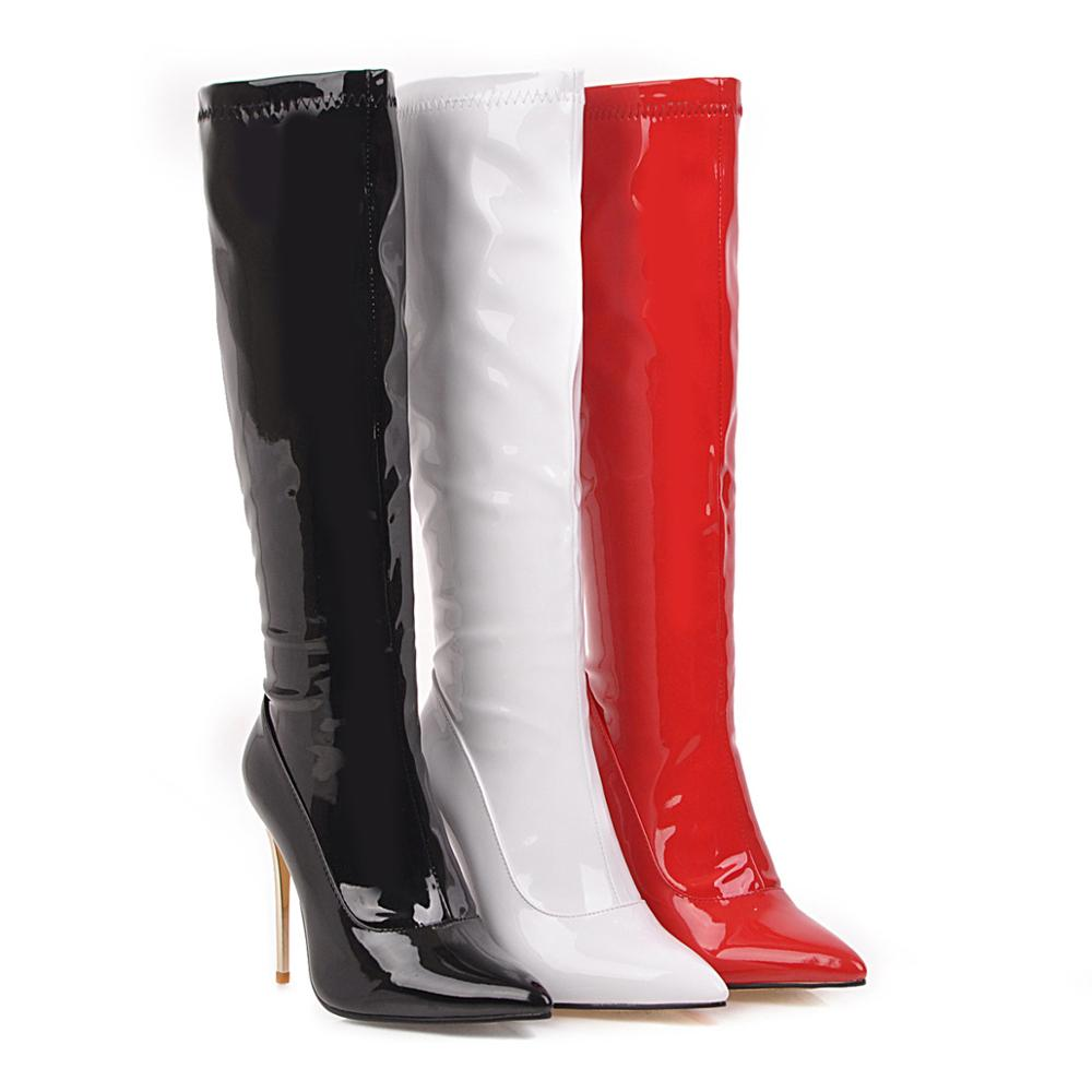 Fashion Knee High Boots Women's Winter Boots High quality women shoes knee-high boots red 2019 winter new sexy patent leather