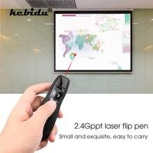 Kebidu R400 2.4Ghz bezprzewodowy prezenter z USB czerwony Laser w kształcie pióra wskaźnik PPT pilot zdalnego sterowania z ręczny wskaźnik dla PowerPoint