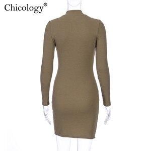 Image 5 - Chicology Vrouwen Bandage Lange Mouwen Mini Jurk Sexy Bodycon Party Outfit 2019 Herfst Winter Club Kleding Vrouwelijke Korte Casual