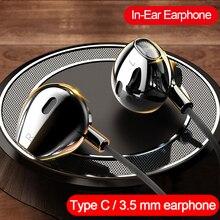Fones de ouvido intra auricular, fones intra auriculares, tipo c, 3.5mm para huawei p40 para xiaomi oneplus, oppo, realme fone de ouvido com microfone