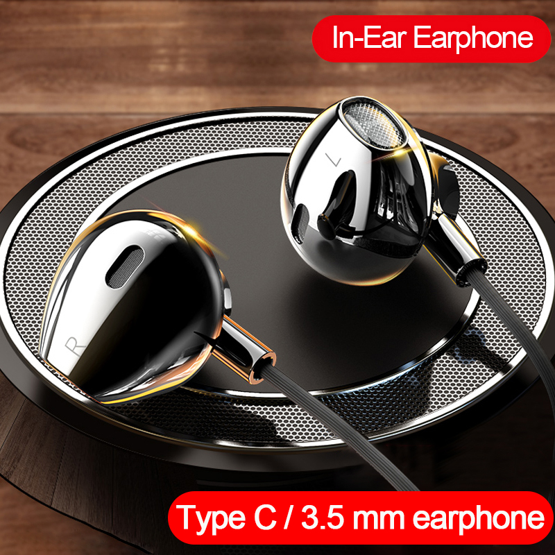 Наушники с тяжелыми басами типа C 3,5 мм для HUAWEI P40 для Xiaomi Oneplus для OPPO Realme, наушники-вкладыши для смартфона, гарнитура с микрофоном