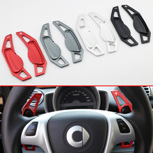 цена на Steering Wheel Paddle For Smart Fortwo(W451) 2007-2014 Gear Shift Accessories Aluminum Decoration Black/Red/Gray/Silver