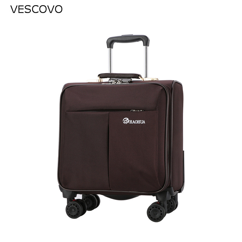VESCOVO 18inch business trolley suitcase oxford men boarding travel case on wheels women carry on rolling luggage bag