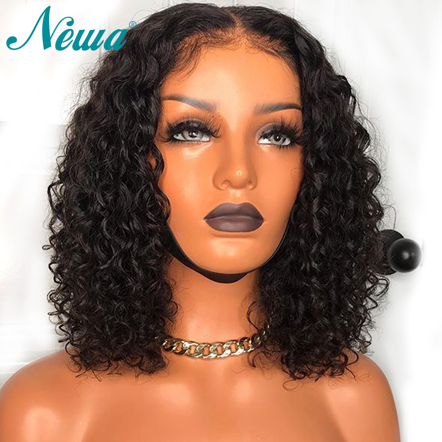 Newa Hair Curly Lace Front Wigs For Black Women Remy Hair Lace Front Human Hair Wigs With Baby Hair Brazilian 13x6 Short Bob Wig