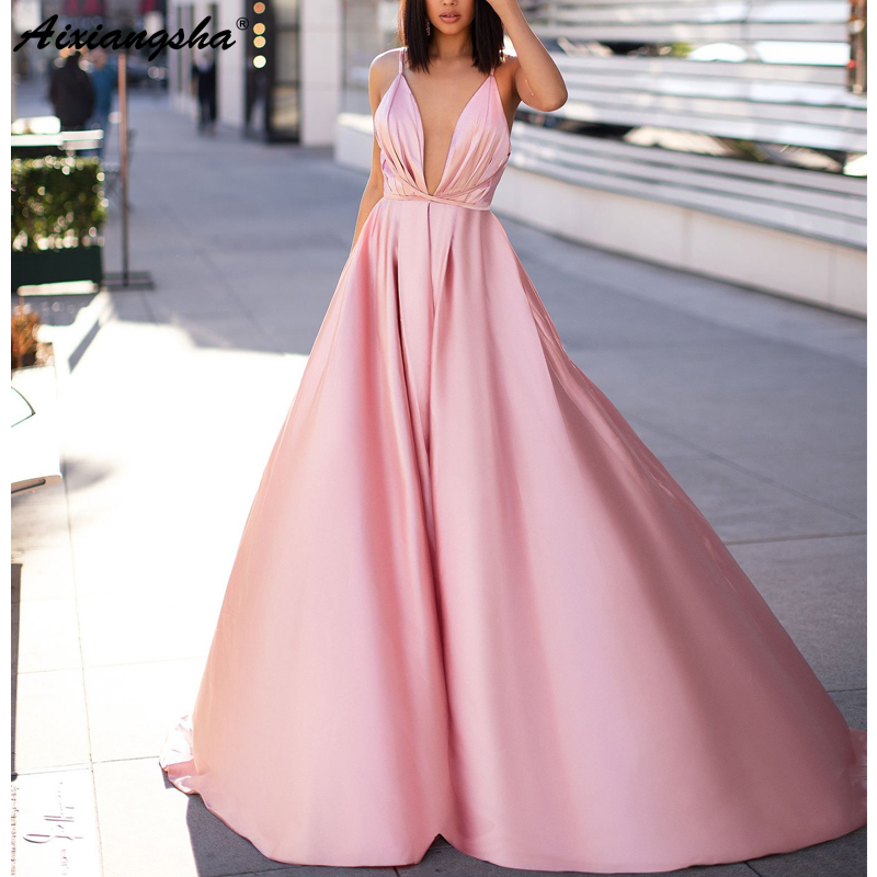 Pink   Evening     Dresses   2019 Sleeveless A-line V-Neck Satin Sexy Backless Long   Evening   Gown Simple Prom   Dress