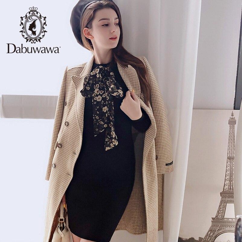Dabuwawa cachemire laine Plaid manteau femme à manches longues Double boutonnage automne hiver décontracté femmes longue veste DN1DLN011