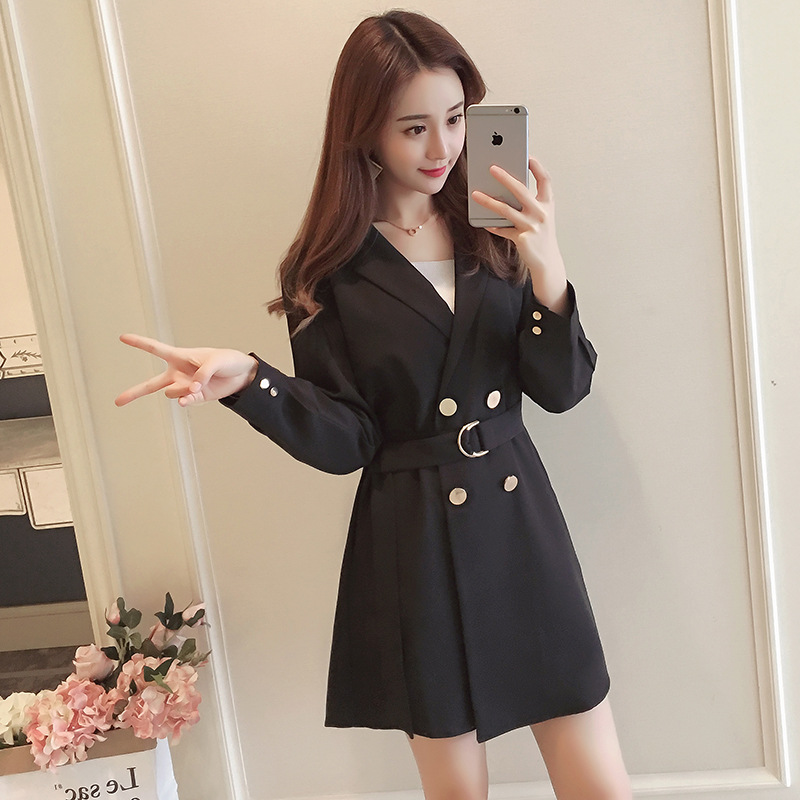 2019 Autumn Fat Mm New Style Large Size WOMEN'S Dress Korean-style Elegant Waist Hugging Slimming V-neck Base A- Line Skirt