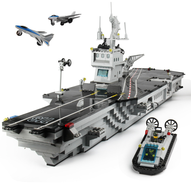 Model Military Educational Toy Aircraft Carrier Battleship Children Assembled Building Blocks Large Effective-Year-Old Assembly