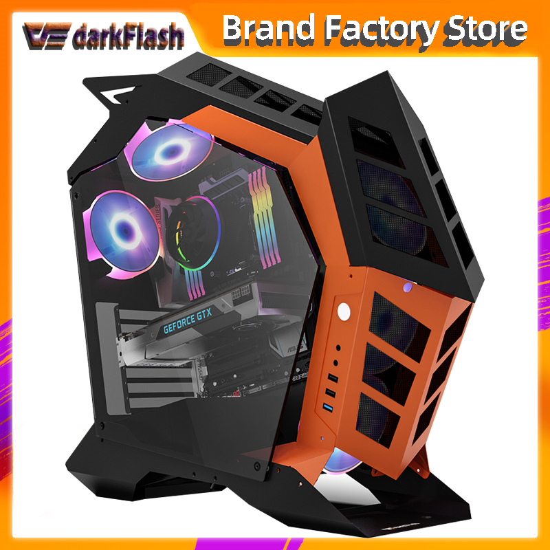 Darkflash K1 ATX desktop computer case DIY special shaped personality style gaming glass gabinete pc case gamer large Chassis|Computer Cases & Towers|   - AliExpress