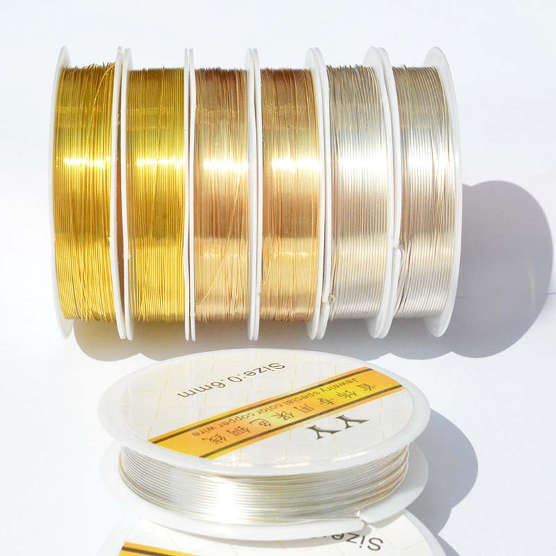 Без обесцвечивания медный провод/линия/шнур 0,2/0,3/0,4/0,5/0,6/0,8/1,0 мм DIY для изготовления ювелирных изделий браслет долговечный фиксированный цве...