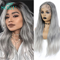 Synthetic Lace Front Wig Gery Color Natural Wavy Wig SOKU Long Middle Part Trendy Hairstyle Heat Resistant Fiber For Black Women