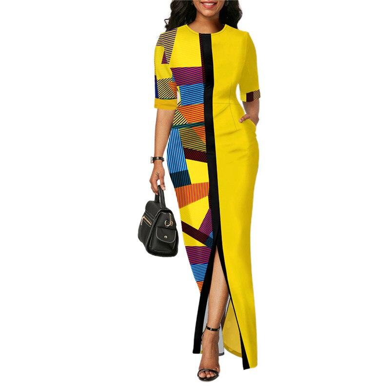Ladies Fashion Half Sleeve Dress Women Elegant Round Collar Geometric Printing Splicing Temperament Maxi Dress For Ball Party 1