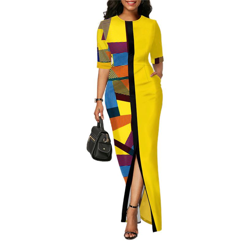Ladies Fashion Half Sleeve Dress Women Elegant Round Collar Geometric Printing Splicing Temperament Maxi Dress For Ball Party