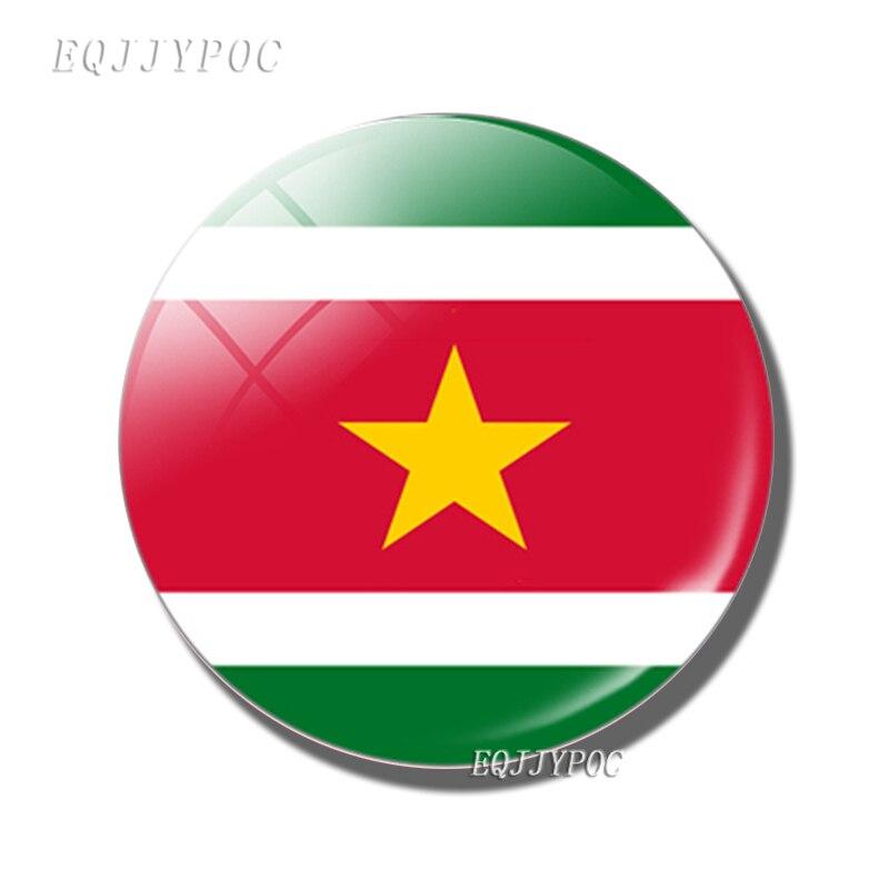 Флаг Суринама 30 мм магнит на холодильник стеклянный купол Суринама магнитные наклейки на холодильник Примечание держатель украшение для дома