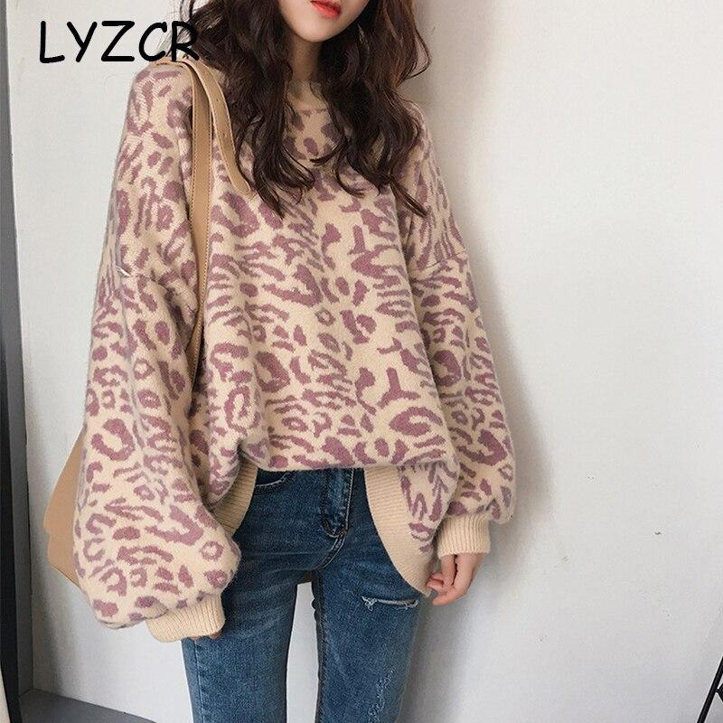 Winter Pullover Women's Leopard Sweater Knitwear Oversized Knitted Sweater Jumper Women Long Sleeve Sweaters Pull Femme